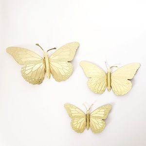 Vintage 3 Piece Butterfly Gold Tin Wall Art Decor